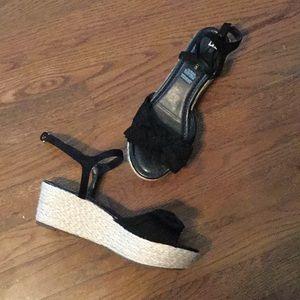 Black Platform Wedge Sandals